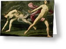 Atalanta And Hippomenes Greeting Card by Guido Reni