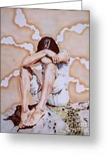Athabaskan Girl On A Rock Greeting Card