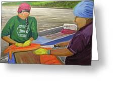 Athabaskan Women Cutting Salmon Greeting Card by Amy Reisland-Speer