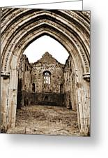 Athassel Priory Tipperary Ireland Medieval Ruins Decorative Arched Doorway Into Great Hall Sepia Greeting Card
