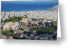 Athens, Greece. Athens Acropolis And City Aerial View From Lycavittos Hill Greeting Card