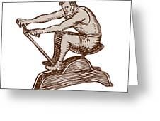 Athlete Exercising Vintage Rowing Machine Etching Greeting Card