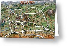 Atlanta Cartoon Map Greeting Card