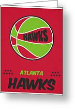 Atlanta Hawks Vintage Basketball Art Greeting Card