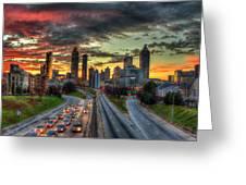 Atlanta Nite Lights Atlanta Downtown Cityscape Art Greeting Card