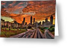 Atlanta Orange Clouds Sunset Capital Of The South Greeting Card