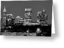 Atlanta Skyline At Night Downtown Midtown Black And White Bw Panorama Greeting Card