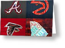 Atlanta Sports Fan Recycled Vintage Georgia License Plate Art Braves Hawks Falcons Plus State Map Greeting Card