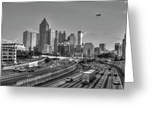 Atlanta Sunset Good Year Blimp Overhead Cityscape Art Greeting Card