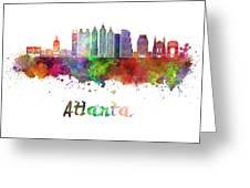 Atlanta V2 Skyline In Watercolor Greeting Card