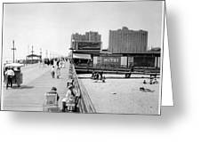 Atlantic City 1920 Boardwalk Promenade, Beach Sand, Signs Apollo Theatre, Mitzi  Greeting Card