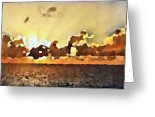 Atlantic Ocean Sunset In Oil  Greeting Card