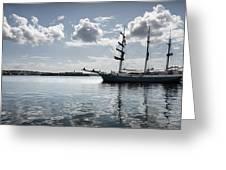 Atlantis - A Three Masts Vessel In Port Mahon Crystaline Water Greeting Card
