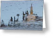 Atmospheric Hala Sultan Tekke Reflection At Larnaca Salt Lake Greeting Card