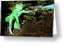 Attack Of The Green Invader Greeting Card