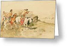 Attack On The Muleteers Greeting Card