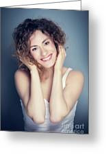 Attractive Young Woman Touching Her Hair And Face. Greeting Card