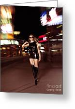Attractive Young Woman Walking Down The Street At Night Greeting Card by Oleksiy Maksymenko