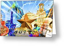 Atx Montage Greeting Card by Andrew Nourse