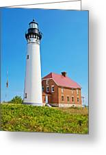 Au Sable Lighthouse In Pictured Rocks National Lakeshore-michigan  Greeting Card