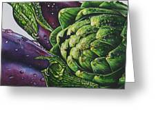 Aubergines And An Artichoke Greeting Card