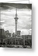 Auckland New Zealand Sky Tower Bw Texture Greeting Card