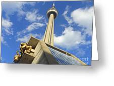 Audience Sculpture And The Cn Tower Greeting Card