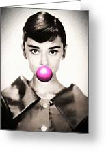 Audrey Hepburn Bubblegum Greeting Card