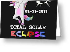 August 21 Solar Total Eclipse Funny Dabbing Unicorn Greeting Card