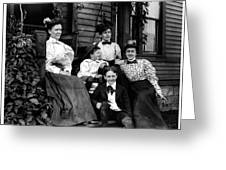 Aunt Emma, Morris, Edith, Fred And Charles On Porch June 12, '97 Greeting Card