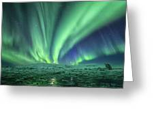 Aurora At Glacier Lagoon Greeting Card