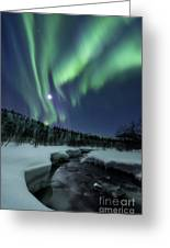 Aurora Borealis Over Blafjellelva River Greeting Card