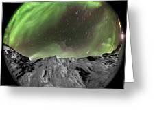 Aurora Borealis Over Iceland, Fisheye Greeting Card