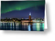 Aurora Over The Stockholm City Hall And Kungsholmen Greeting Card