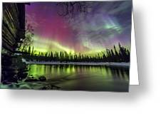 Auroras At The Mill Greeting Card