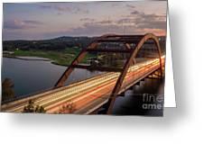 Austin 360 Bridge At Night Greeting Card
