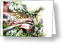 Austin A40 Van Rusting Away In The Garden Greeting Card