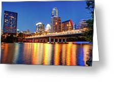 Austin City Skyline And Congress Bridge In Color Greeting Card by Gregory Ballos