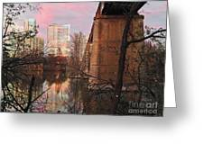 Austin Hike And Bike Trail - Train Trestle 1 Sunset Triptych Middle Greeting Card