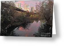 Austin Hike And Bike Trail - Train Trestle 1 Sunset Triptych Right Greeting Card