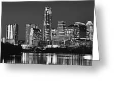 Austin Skyline At Night Black And White Bw Panorama Texas Greeting Card
