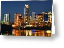Austin Skyline At Night Color Panorama Texas Greeting Card