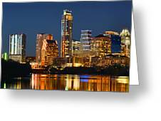 Austin Skyline At Night Color Panorama Texas Greeting Card by Jon Holiday