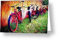 Austin Texas Bikes  -- Original Painting Greeting Card