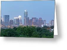 Austin Texas Building Skyline After The The Lights Are On Greeting Card