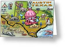 Austin Texas Cartoon Map Greeting Card