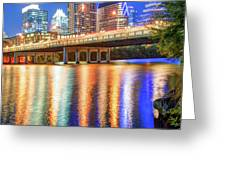 Austin Texas Skyline Night Reflections Greeting Card by Gregory Ballos