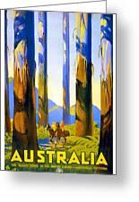 Australia - The Tallest Trees In The British Empire - Marysville, Victoria - Retro Travel Poster Greeting Card