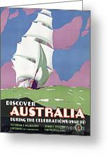 Australia Vintage Travel Poster Restored Greeting Card