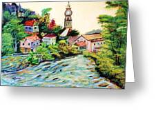 Austrian Alpine Village   Greeting Card